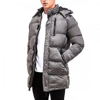 Brave Soul Neema Longline Puffer Coat Hi Shine Silver Grey