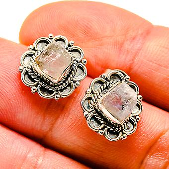 Boucles d'oreilles Rough Rainbow Moonstone 1/2-quot; (925 Sterling Silver) - Bijoux Boho Vintage handmade EAR407512