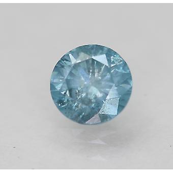 Cert 0.54 Carat Sky Blue SI2 Round Brilliant Enhanced Natural Diamond 5.07mm 3VG