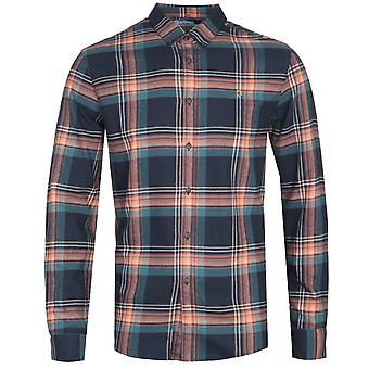 Farah Butterfield Navy Check Slim Fit Shirt