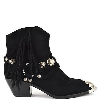 Ash FARROW Fringed Boots Black Suede
