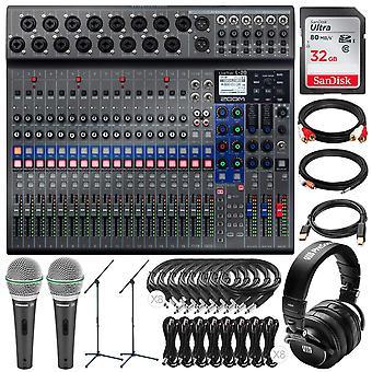 Zoom livetrak l-20 20-input digital mixer & multitrack recorder with 32gb, 4x headphones & 4x microphone audio production kit