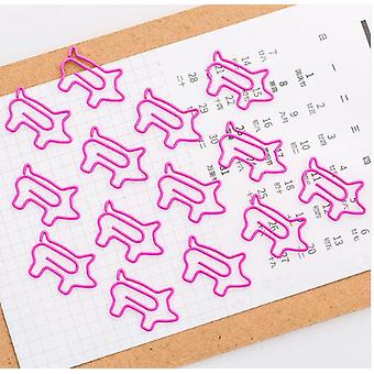 4 Pcs Pig Animal Bookmark Paper Clip For Office Supply