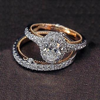 Trendy Crystal Wedding Rings, Women Geometric Luxury White Bridal Rings Jewelry