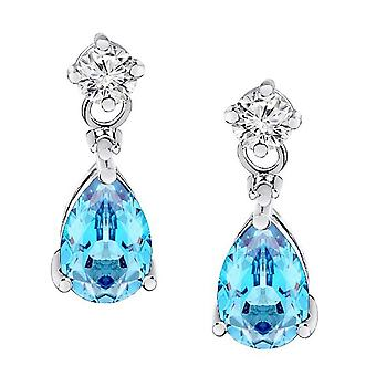 2.20 Boucles d'oreilles Carat Diamond & Blue Topaz