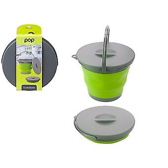 Summit Pop! Collapsible 5 Litre Bucket With Lid 5L Folding Bin Camping Caravans - Green / Grey