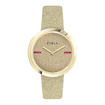 Furla Women'S My Piper Gold Dial Calfskin Leather Watch