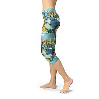 Womens Hexagon Floral Capri Leggings