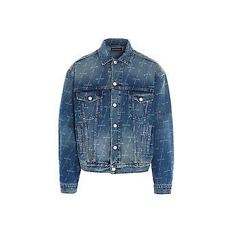 Balenciaga 620731tjw532340 Herren's Blaue Baumwoll-Outerwear Jacke