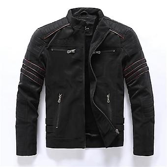 Autumn, Winter Men's Leather Jacket, Casual Stand Collar, Motorcycle Men Slim