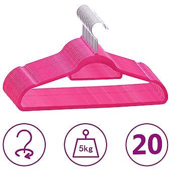 vidaXL 20 pcs. hanger set anti-slip pink velvet