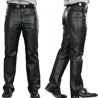 Male Genuine Leather Straight  Sheepskin Zipper Fly Regular Length Pant