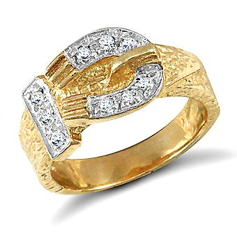Jewelco London Kinder solide 9ct Gelbgold weiß Runde brillante Zirkonia Gürtelschnalle Baby Ring