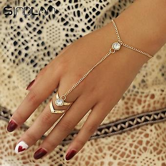 Gold Big Crystal Ring Wrist Chain Bracelet