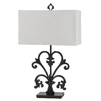 Lámpara de mesa de sombra rectangular con base de metal desplazado, blanco y negro