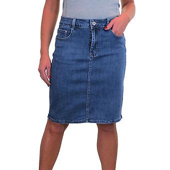 Women's térdig érő farmer szoknya nagy stretch farmer szoknya 10-22