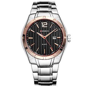 CALENDÁRIO CURREN 8103 Impermeável Homens Relógio de Pulso Relógios de Quartzo banda de aço completo