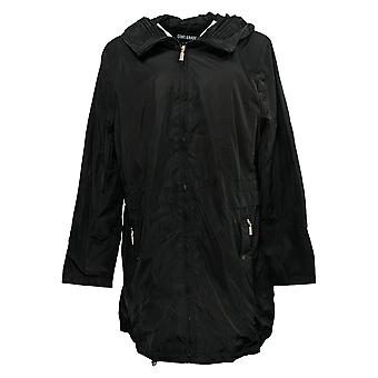 Centigrade Women's Water Resistant W/ Pleated Hood Collar Black A382166