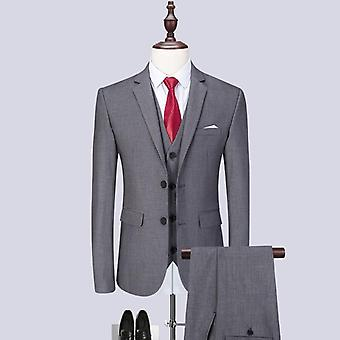 Men's Latest Coat Pant Designs Casual Business Suit 3 Pieces Set