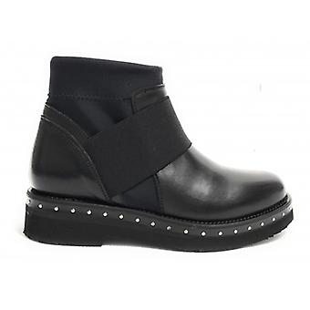 Shoes Woman Gas Bearded Ankle Boot Biker Leather Black Color D18nb01