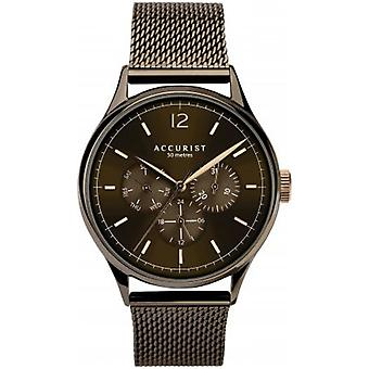 Accurist 7286 Současné růžové zlato & browns pánské mesh hodinky
