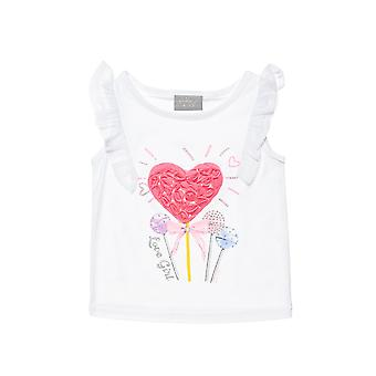 Alouette Girls' Blouse With Rolls And Embroidered Flowers