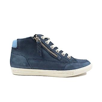Paul Green 4088-01 Navy Leather Womens Zip/Lace Up Boot Trainers