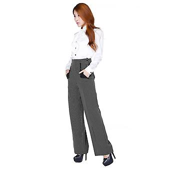 Chic Star Plus Size Retro Navigator Side Button Pants In Gray