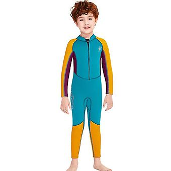 Kids wetsuit long sleeve one piece uv protection thermal swimsuit dfse-17