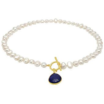 Pearls of the Orient Clara Freshwater Pearl Lapis Lazuli Drop Necklace - White/Blue