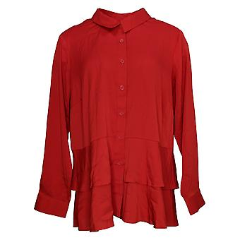 Joan Rivers Classics Collection Dames's Top Plus Zijdeachtige Blouse Rood A373930