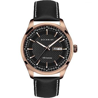 Accurist 7361 Rose Gold & Black Leather Men's Watch