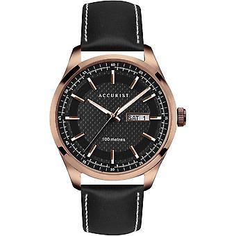 Accurist 7361 Rosa Oro y Cuero Negro Hombre&s Reloj