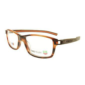 Tag Heuer Eyeglasses TH 7601 002 Brown Havana Orange Chocolate 55-17-145, 34