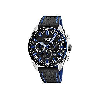 Festina Men's Quartz Chronograph Clock with Leather Strap F20377/3