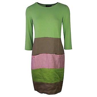 Latte Green Three Quarter Sleeve Linen Blend Dress