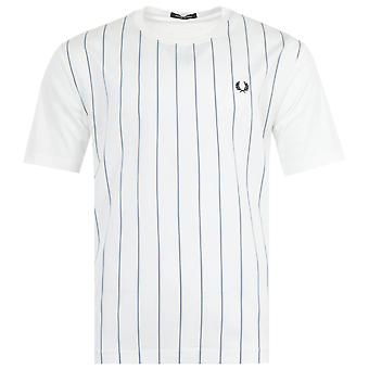 Fred Perry Woven Stripe Oversized T-Shirt - Snow White