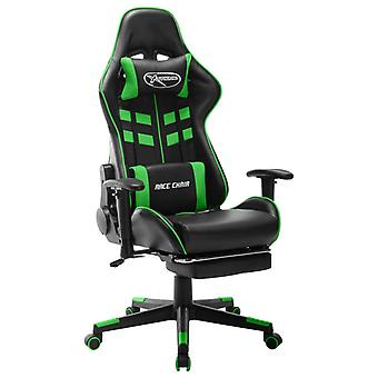 vidaXL Gaming-Stuhl mit Fußstütze Schwarz und Grün Kunstleder