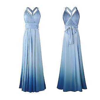 M azul de las mujeres sueltas maxi vestido largo casual con bolsillos x4069