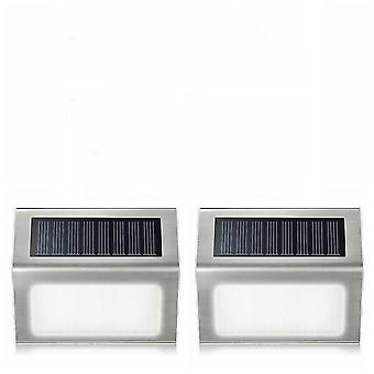 2Pcs cool white 3led solar lamp with smart lighting sensor rain-proof fence light az4616