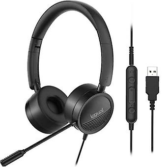 Hodetelefoner med mikrofon iggual dual tech svart