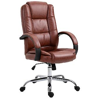 Vinsetto High Back Executive Office Chair Swivel PU Leather Ergonomic Chair, with Padded Arm, Adjustable Height, Brown