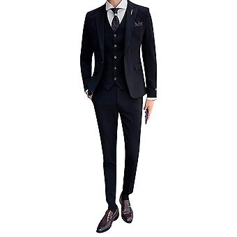 Yunyun Men's Solid Color One-button Slim Fit Three-piece Suit Jacket Vest And Pants