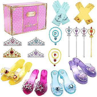 Prinzessin Kostüm Zubehör Prinzessin Schuhe Mädchen mit Krone Zauberstab Halskette Ring Armband