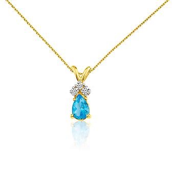 LXR 14k الذهب الأصفر توباز الكمثرى قلادة مع الماس 0.5ct
