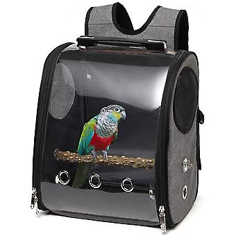 Bird Parrot Backpack Carrier Travel Bag With Perch Stand For Parakeets Cockatiels Conures Finches Lovebirds Small Medium Birds Cage