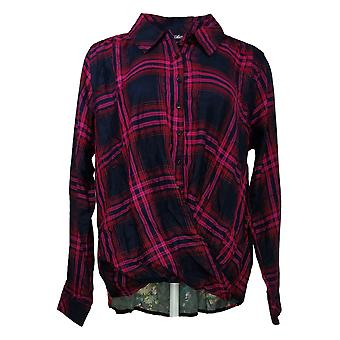 Tolani Collection Women's Top Pullover Plaid Printed Back Pink A382635