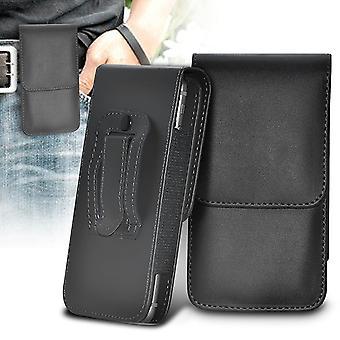 (Sort) Samsung Galaxy Xcover 4 Sag Lodret PU læder bælte Hylster Pose Cover