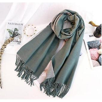 Double-sided Solid Color Dual-purpose Bib Mid-length Thick Warm Shawl(Green)
