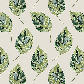 Leaf forest green floral cotton print fabric